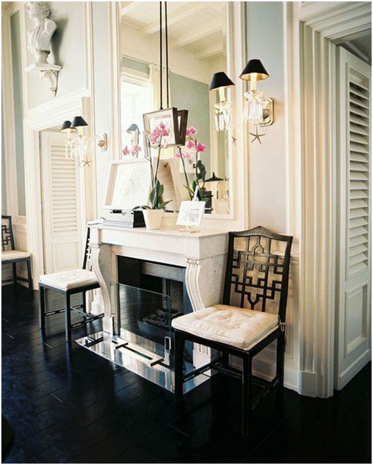 Lonny Magazine I love the mirror built into the mouldings and the entire feel of this sophisticated space.