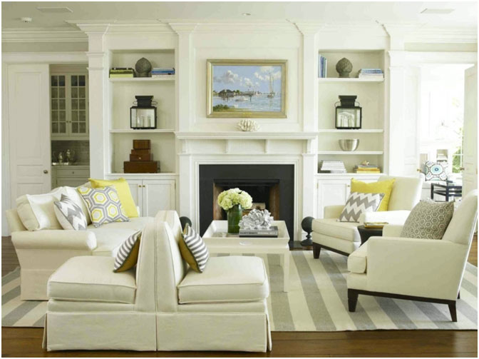 New England Home Magazine Fresh modern-traditional-New England style living room.